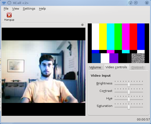 Screenshot of kcall in an audio/video session